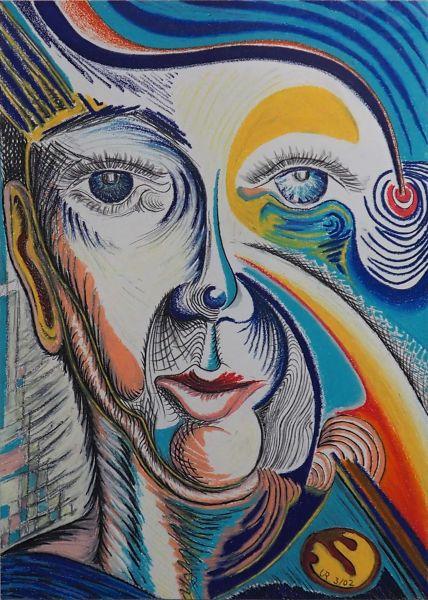 """""""Der Blick"""", Ölkreide und Grafitstift"""